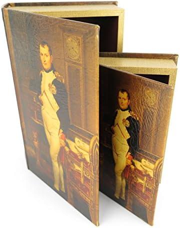 Clever-Deko Libro (2 Libros), Escudo Secreto Escondido, Caja Fuerte de Libro Antigua, Napoleon Bonaparte Idea de Regalo Estilo Colonial: Amazon.es: Juguetes y juegos