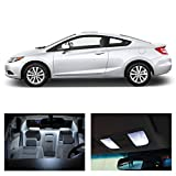 Honda Civic 2 Door Coupe 2006-2012 White LED Package Kit - Interior + Tag + Reverse Lights (8 pieces)