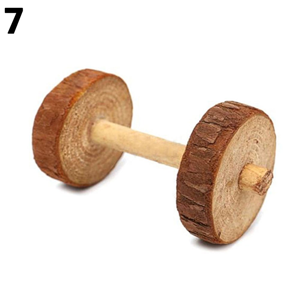 WISTIC Chew Toys, Natural Dumbells Unicycle Bell Roller Pet Chew Toy for Guinea Pigs Rat Rabbits - Small Dumbbell