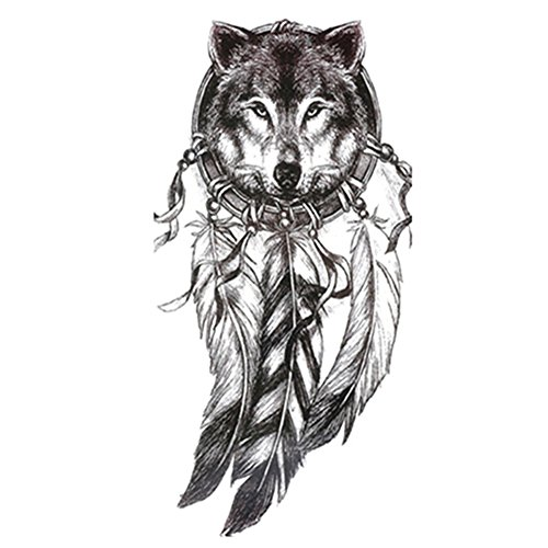 RoseSummer 5Pcs Wolf with Spring Cool Beauty Waterproof Temporary Tattoo Stickers]()