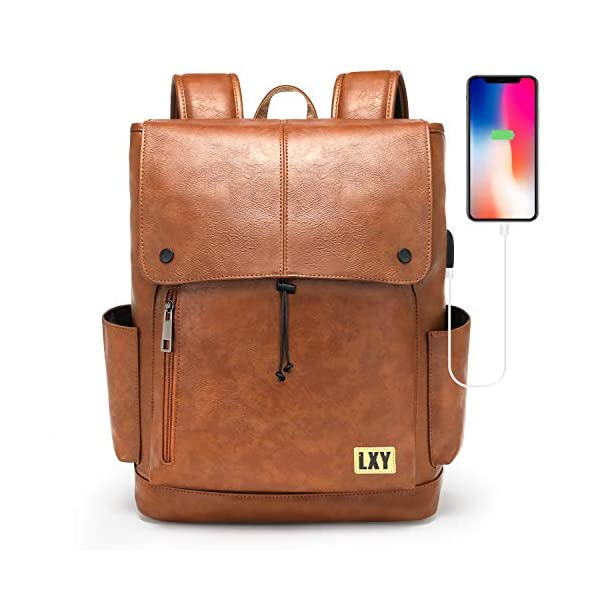 LXY Backpack Purse for Women Men, 15.6 Inches Laptop Bookbag with USB Charging Port