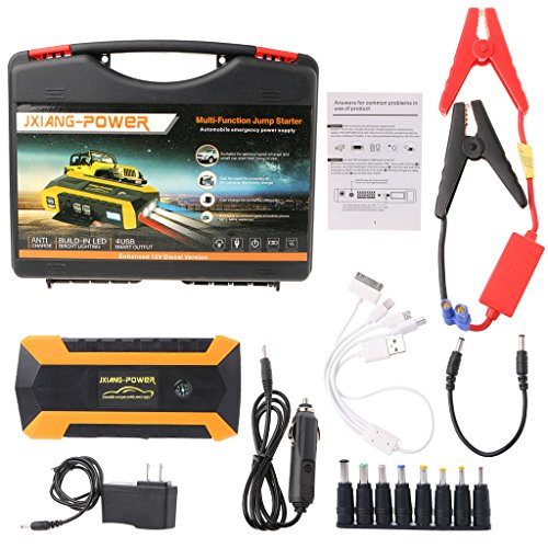 Autones 89800mAh Car Charger,4 USB Portable Car Jump Starter Pack Booster Charger Battery Power Bank,600A Peak Current(Yellow)