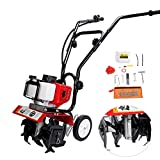 BEAMNOVA 43CC Mini Tiller Cultivator 2 Cycle Engine Gas Powered Outdoor Power Tillers