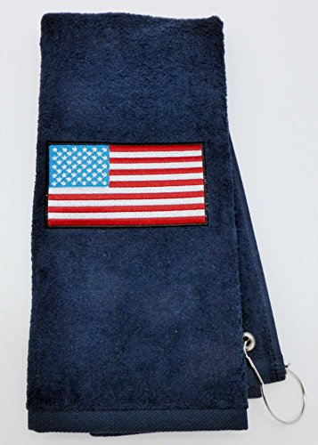 Mana Trading Custom Personalized Embroidered Golf Towel USA FLAG (Navy (Blue Embroidered Velour Golf Towel)