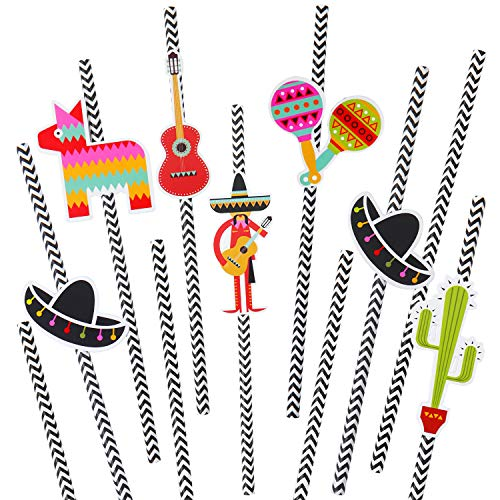 Ruisita 48 Sets Mexican Fiesta Party Paper Straws Cactus Sombrero Donkey Pattern Striped Drinking Decorative Straws for Parties Festival