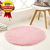 SANMU Soft Round Rug,Fluffy Silky Carpet Fashion Color Smooth Bedroom Mats Round Shag Floor Pad for Girls Bedroom Decorate and Indoor Use,4 Feet Pink