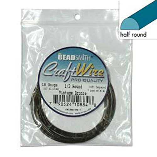 18 Ga Half Round Copper Craft Wire Vintage Bronze Color