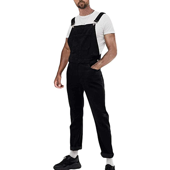 Mens Jumpsuits Slim Fit Leisure Pants Skinny Jeans Overalls One Piece Trousers