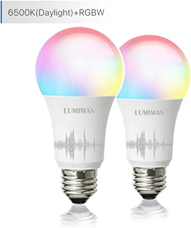 Smart Wifi Light Bulb Led Rgb Color Changing Compatible With Alexa And Google Home Assistant No Hub Required A19 E26 Multicolor Lumiman 2 Pack