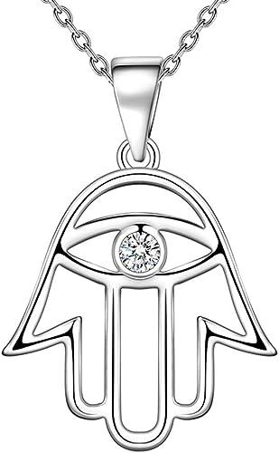 Silver Vintage Pendant God Chain Evil Eye Gift Amulet Necklace Hamsa Jewelry