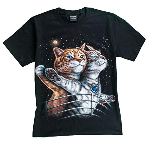 T-Shirt Sale 3D Glow in Dark Animal for Man Unisex (Medium, Cat5 Titanic (with Blue Heart Necklace))