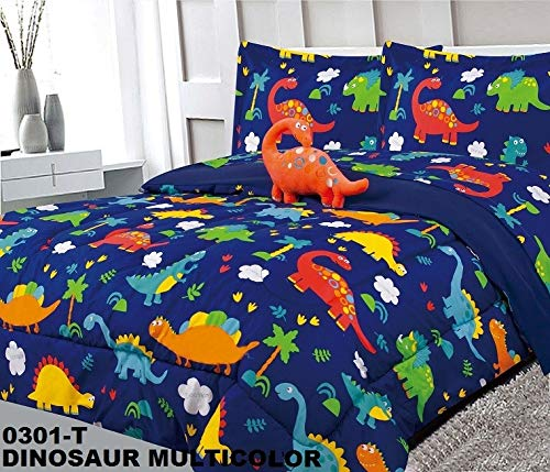 Sapphire Home 6 Piece Twin Kids Boys Comforter Set Bed in Bag w/Shams, Sheet Set and Decorative Toy Pillow, Dinosaurs Print Blue Green Boys Kids Comforter Bedding Set w/Sheets, Twin Size 6pc Dinosaurs