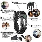 aZengear Bracelet de Paracorde et Survie pour Homme Femme - Militaire Kit avec Allume-feu - Boussole - Sifflet… 7