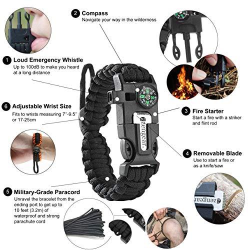 aZengear Bracelet de Paracorde et Survie pour Homme Femme - Militaire Kit avec Allume-feu - Boussole - Sifflet… 2