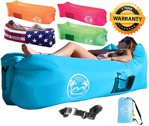 Bottle Lounge (Banzai Unlimited Inflatable Air Lounger Sofa Couch Hammock with Bottle Opener 4 Pockets Headrest Securing Stake & Travel Bag. Perfect Blowup LayBag for Beach Camping Pool Float Indoors Outdoors)