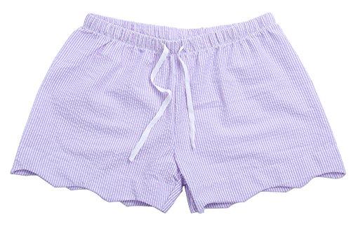 MONOBLANKS Women Seersucker Scallop Lounge Shorts Can be Personalized Monogrammed (XL, Purple)