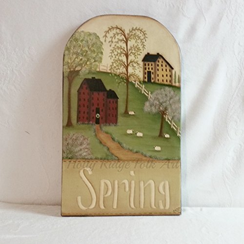 Saltbox House Folk Art (wall hanging, saltbox, sheep, Spring)
