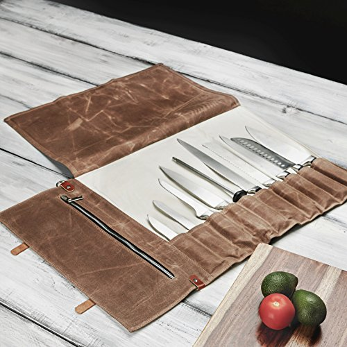 Chef Knife Roll Bag - Handmade Waxed Canvas and Leather Knife Bag Stores 10 Knives + Zipper Pocket and Shoulder Strap (Black) by Becken Leather Co. (Image #6)