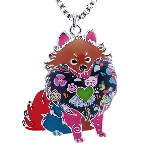Pomeranian Necklace - Luckeyui Pomeranian Gifts for Dog Lovers Cute Pets Women Statement Necklace Jewelry for Mom Day