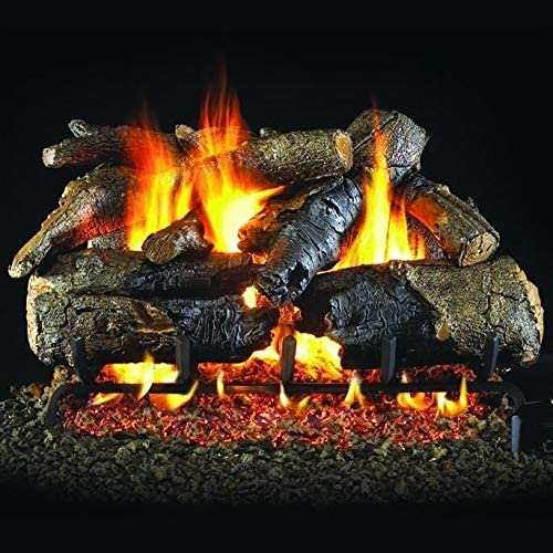 Variable Flame Remote Peterson Real Fyre 24-Inch Charred Oak Gas Log Set with Vented Natural Gas ANSI Certified G31 Triple-Tier Burner