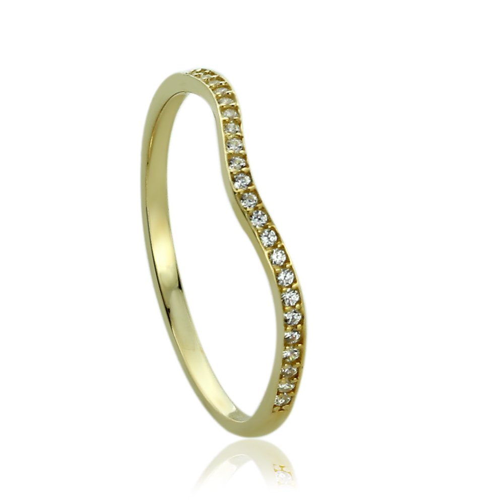 14K Yellow Gold Engagement Ring CZ Accented Curvy Band Ring