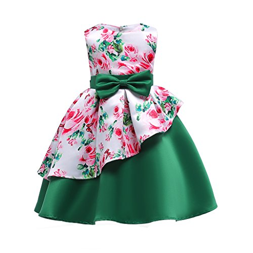 YCJemu Flower Girls Dresses Kids Floral Print Party Dress Princess Gowns Bow Party Wedding (Spring Ball Dresses)