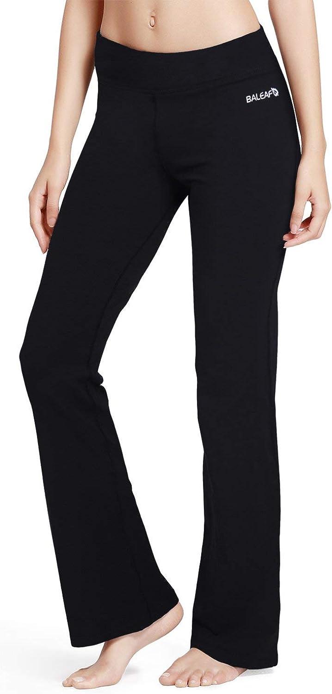 BALEAF Women's Bootcut Regular/Tall High Waisted Yoga Pants Bootleg Jazz Cotton Pants