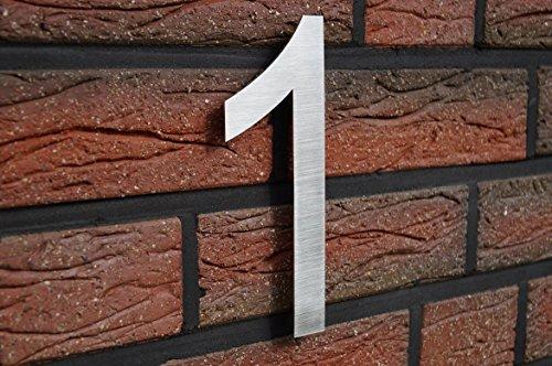 HAUSNUMMER EDELSTAHL 1 , H20cm / ARIAL / V2A !!! / UNSICHTBARE MONTAGE
