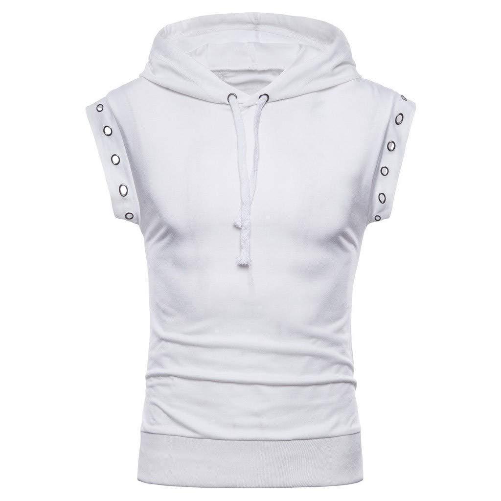 Sunmoot Hooded Tank Tops for Mens Spring Summer Vintage Drawstring Sleeveless Vest Blouses