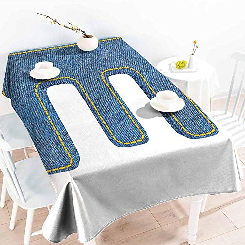 Onefzc Washable Tablecloth,Letter E Denim Blue Jeans Themed Symbol E from Alphabet ABC of Fabric Uppercase Letter,Resistant/Spill-Proof/Waterproof Table Cover,W60x84L Blue Yellow