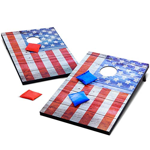 Refinery Vintage Americana Deluxe Bean Bag Toss Set, Complete Cornhole Game, Best Picnic & BBQ Target Sport, 2 Folding Targets, 8 Premium Bean Bags in 2 Colors for Team Play, - Sports Theme Bag Bean