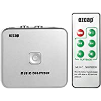 Docooler ezcap Audio Capture Recorder Music Digitizer with 3.5mm & RCA IN Ports Save into SD Card USB Disk as MP3 File with Remote Controller US Plug