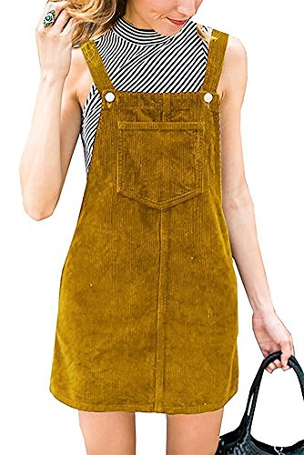 TinyChic Womens Solid Color Corduroy Suspender Skirt Mini Bib Pinafore Overall Dress Yellow XXL with Pocket