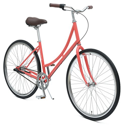 Critical Cycles Dutch Step-Thru 3-Speed City Coaster Commuter Bicycle, Coral, 44cm/One Size