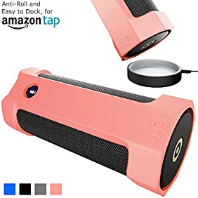 Amazon Tap Case Sling Cover [Anti-Roll] Easily Dock on Your USB Charger Cradle Base Now With The Best Bottomless Silicone Design by CUVR (Rose Quartz)