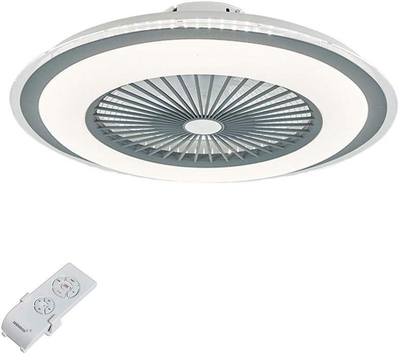 OUKANING - Ventilador de techo con mando a distancia y luz de techo LED regulable, ventilador interior, lámpara ultrasilenciosa para salón (gris)