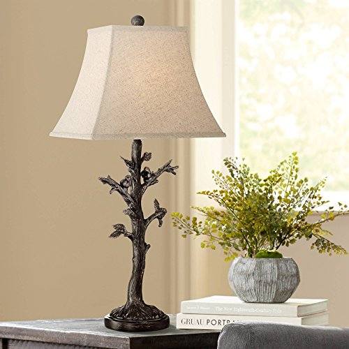 Bird Table Lamp - Cawthorne Cottage Table Lamp Rustic Birds on Tree Off White Burlap Square Shade for Living Room Family Bedroom Bedside - Regency Hill
