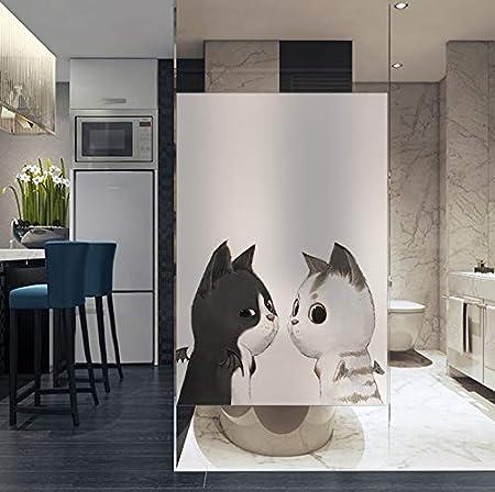 Blmoneg Película De La Ventana Adhesivo electrostático Esmerilado, baño de Gato Blanco y Negro, Ventana del baño, mampara de la Puerta, Parche de Vidrio Impermeable e Impermeable, 80 cm * 120 cm: