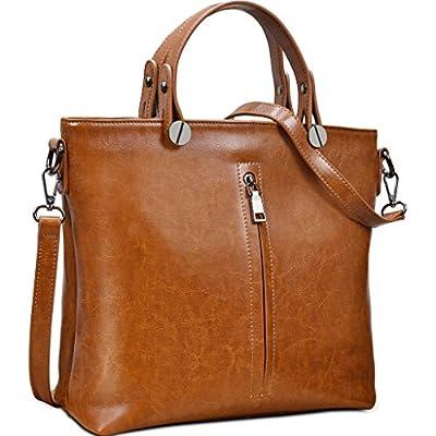 Yahoho Women's Waxy Cowhide Genuine Leather Top Handle Tote Shoulder Bag