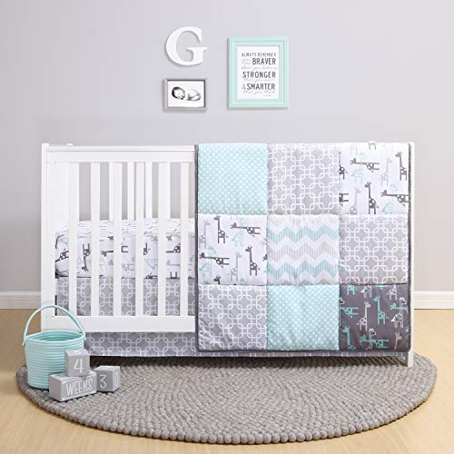The Peanutshell Giraffe Crib Bedding Set for a Boy, Girl and Unisex Nursery - Baby Quilt, Fitted Crib Sheet, Crib Skirt Included (Crib Clearance Sets Bedding)