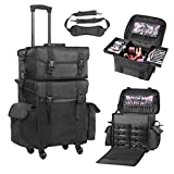 (US) Voilamart Rolling Makeup Case Trolley 2 in 1 Travel Cosmetic Train Cases on Wheels - Nylon Black Bags for Professional Make Up Artist Cosmetics Storage