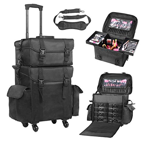 Voilamart Rolling Makeup Case Trolley 2 in 1 Travel Cosmetic Train Cases on Wheels - Nylon Black Bags for Professional Make Up Artist Cosmetics Storage (Professional Rolling Case Makeup)