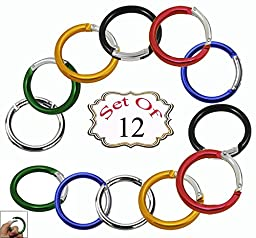 Aluminum Spring Clip Round Carabiner /Organizing Accessory/Steel Secure Holder/ Durable and Rust-Proof -Assorted Colors (Pack of 12)