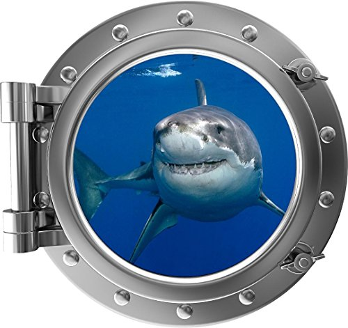 "12"" PortScape Instant Sea Porthole Window Shark 1 Wall Sticker Graphic Decal Kids Game Room Decor Art Cling NEW"