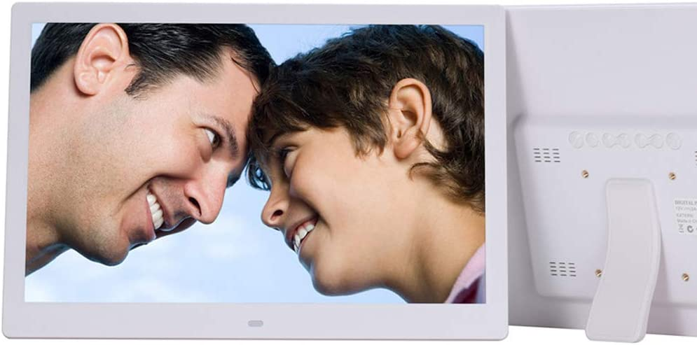 Dayangiii 15 inch Photo Frame Electronic Photo Frame Digital Picture Frame with Remote Control Motion Sensor SD Card Video Player,White,AU