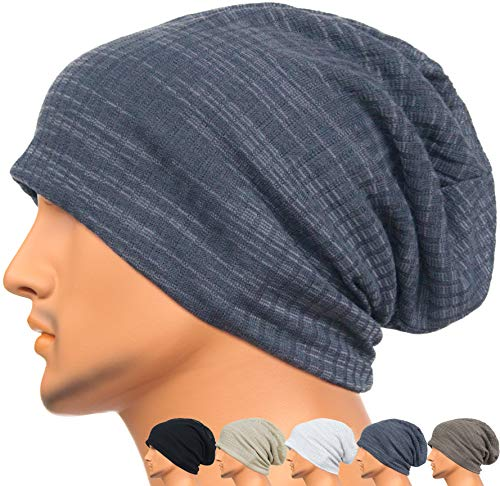 Rayna Fashion Men Women Summer Thin Slouchy Long Beanie Hat Cool Baggy Skull Cap Stretchy Knit Hat Lightweight Purple