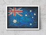 Australia Flag, Hand-Painted Flag of Australia, Distressed Flag, Vintage Mixed Media Art, Rustic, Industrial Style, Flag PaintingFF