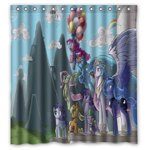 (Aloundi Custom Design My Little Pony Waterproof Fabric Shower Curtain )