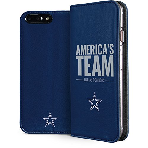 Skinit Dallas Cowboys iPhone 8 Plus Folio Case - Officially Licensed NFL Phone Case - Faux-Leather Wallet iPhone 8 Plus Cover ()