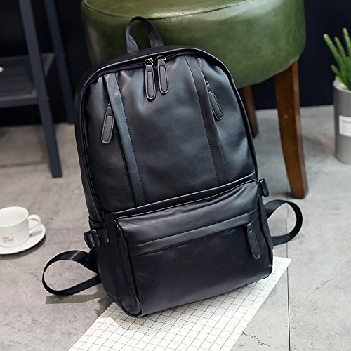 Amazon.com : New retro shoulder bag retro pu leather backpack couple travel shoulder bag, black : Sports & Outdoors